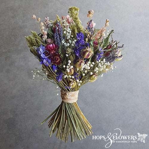 cottage garden dried flower bouquet